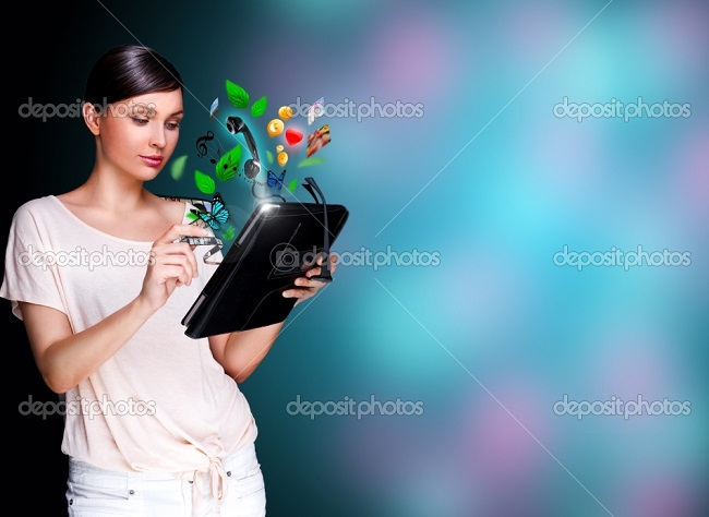 depositphotos_9248807-Poster-portrait-of-young-beautiful-woman-holding-her-universal-device---tablet-pc.-Lots-of-things-are-appearing-from-the-display.-Universality-of-modern-devices-concept